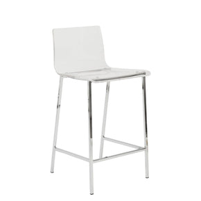 Chloe Counter Stool In Clear With Chrome Legs - Set Of 2 Chair