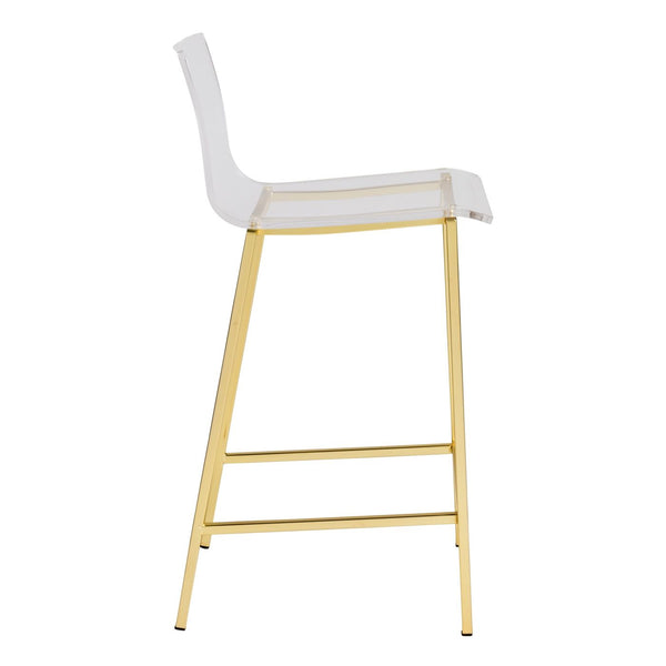 Chloe Counter Stool In Clear Acrylic With Matte Brushed Gold Legs - Set Of 2 Chair
