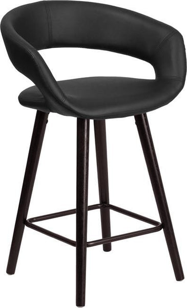 Brynn Series 24'' High Contemporary Vinyl Counter Height Stool With Cappuccino Wood Frame Black, Chair
