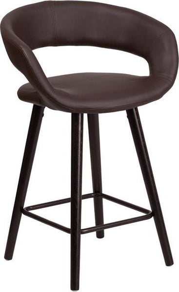Brynn Series 24'' High Contemporary Vinyl Counter Height Stool With Cappuccino Wood Frame Brown, Chair