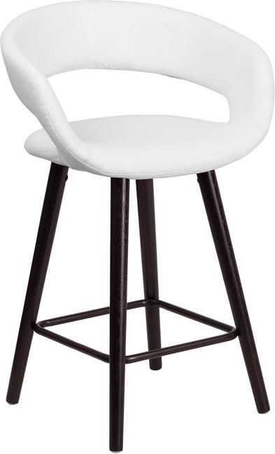 Brynn Series 24'' High Contemporary Vinyl Counter Height Stool With Cappuccino Wood Frame Cappuccino, White Chair