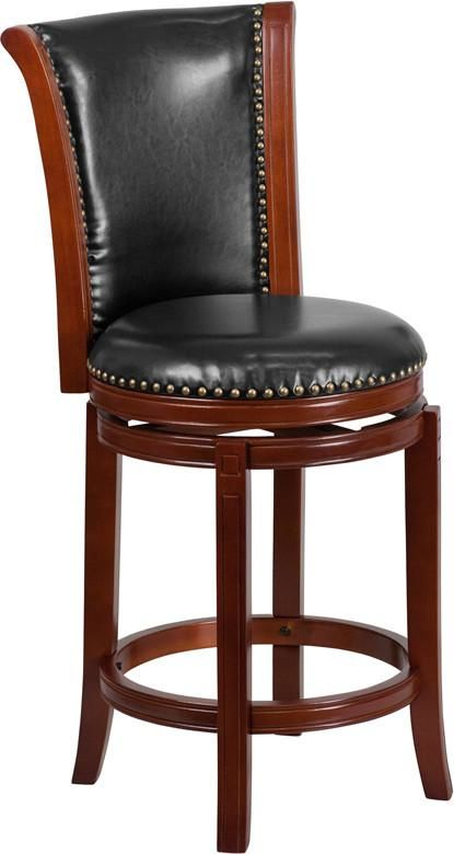 26'' High Dark Chestnut Wood Counter Height Stool With Black Leather Swivel Seat Black, Chair