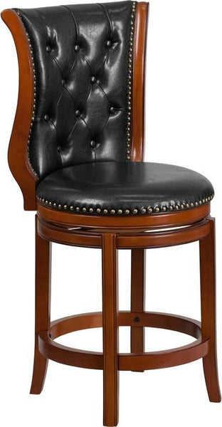 26'' High Dark Chestnut Wood Counter Height Stool With Hepatic Leather Swivel Seat Black, Brown Chair