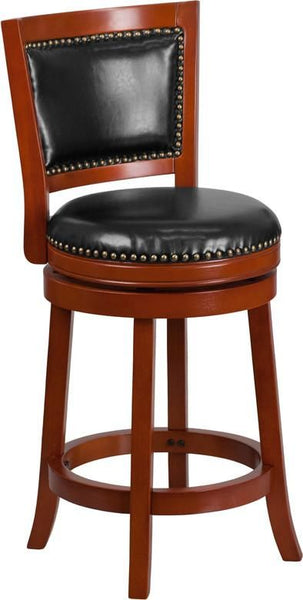 26'' High Dark Cherry Wood Counter Height Stool With Walnut Leather Swivel Seat Black, Chair