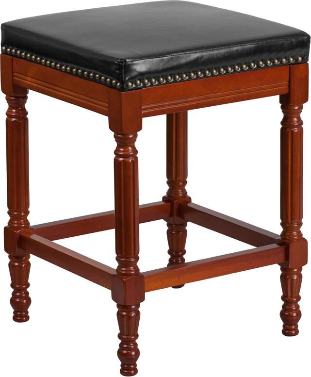 26u0027u0027 High Backless Light Cherry Wood Counter Height Stool With Black  Leather Seat Black