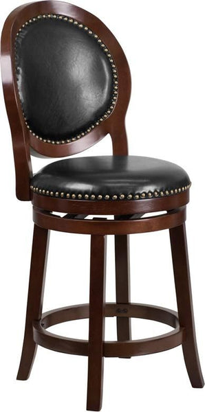 26'' High Cappuccino Counter Height Wood Barstool With Black Leather Swivel Seat Black, Chair