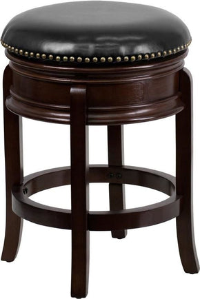 24u0027u0027 High Backless Cappuccino Wood Counter Height Stool With Black Leather  Swivel Seat