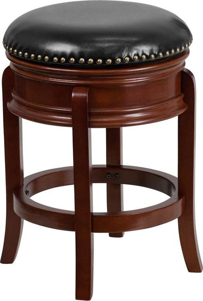 24'' High Backless Light Cherry Wood Counter Height Stool With Black Leather Swivel Seat Black, Chair