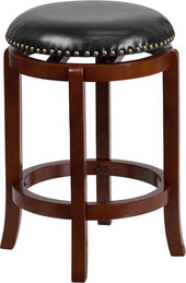 Flash Furniture 24'' High Backless Light Cherry Wood Counter Height Stool with Black Leather Swivel Seat TA-68924-LC-CTR-GG | 889142062097| $64.80. Counter Chairs - . Buy today at http://www.contemporaryfurniturewarehouse.com