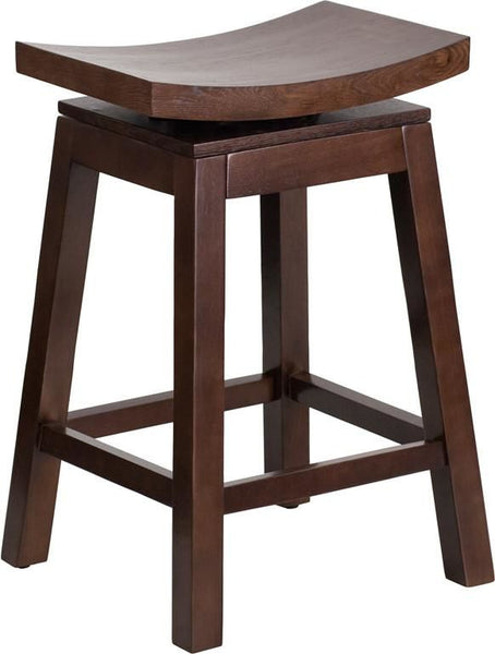 26'' High Saddle Seat Cappuccino Wood Counter Height Stool With Auto Swivel Return Chair