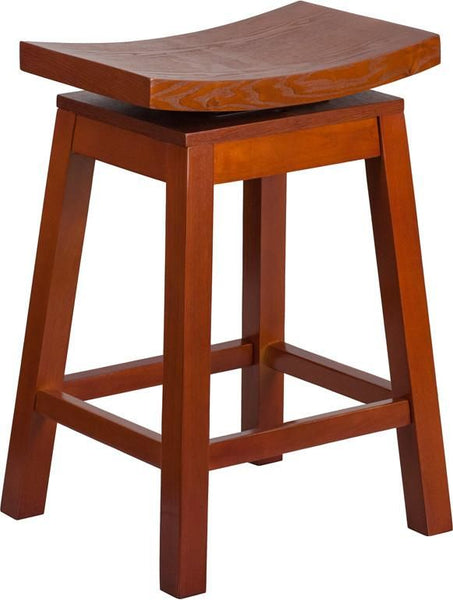 26'' High Saddle Seat Light Cherry Wood Counter Height Stool With Auto Swivel Return Chair