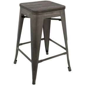 Oregon Industrial Stool - Set Of 2 Antique Espresso Counter Chair