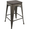 Oregon Industrial Stool - Set of 2 Antique, Espresso
