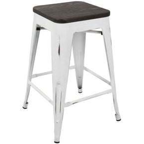 Oregon Industrial Counter Stool - Set Of 2 White Espresso Chair