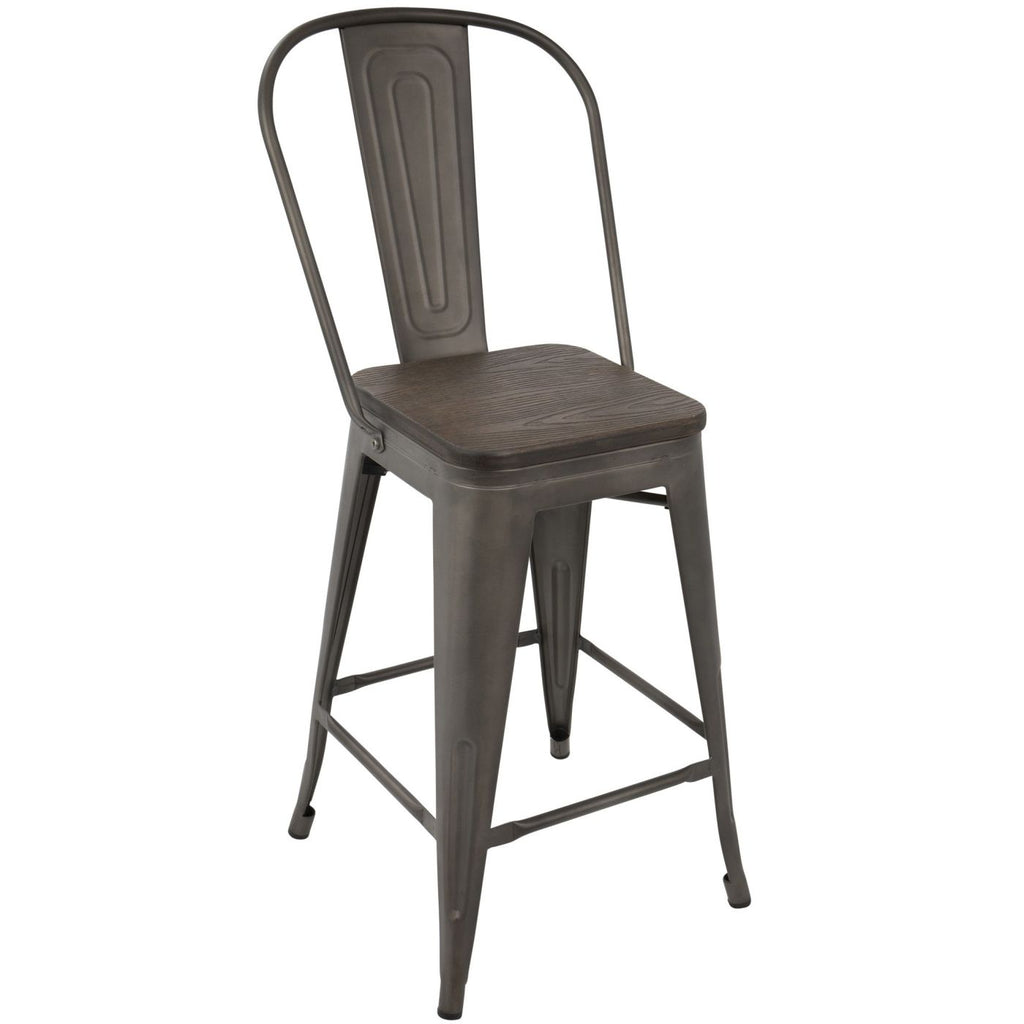 Oregon Industrial High Back Counter Stool - Set Of 2 Antique Espresso Chair