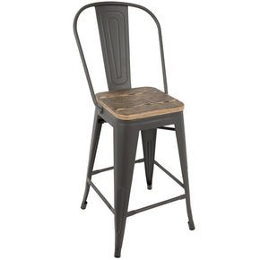 Oregon Industrial High Back Counter Stool - Set Of 2 Grey Brown Chair