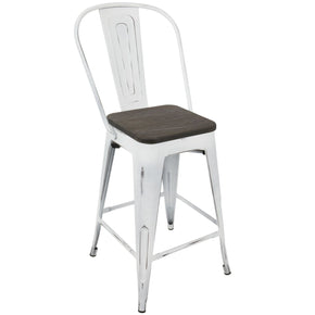 Oregon Industrial High Back Counter Stool - Set Of 2 White Espresso Chair