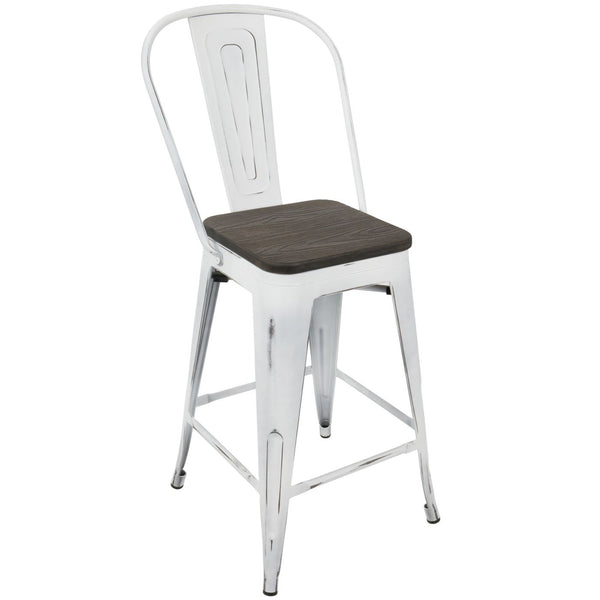 Oregon Industrial High Back Counter Stool Set Of 2 White Espresso