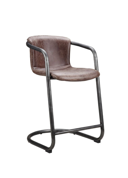 2ff325ce479e Freeman Counter Stool Light Brown (Set Of 2) Top Grain Leather Iron Frame  Chair