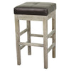 Valencia Bonded Leather Backless Counter Stool Mystique Gray Legs Coffee Bean Chair