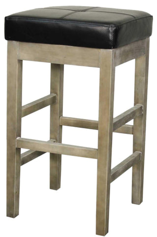 Valencia Bonded Leather Backless Counter Stool Mystique Gray Legs Black Chair