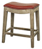 Elmo Bonded Leather Counter Stool Mystique Gray Frame Red Chair