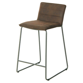 Keane Pu Leather Counter Stool Antique Bistre Brown (Set Of 2) Chair