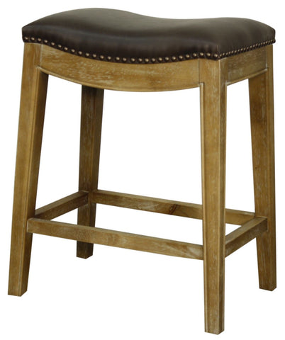 Elmo Bonded Leather Counter Stool Weathered Smoke Legs Vintage Dark Brown Chair