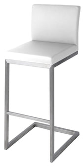 Bran Counter Stool Stainless Steel Frame White (Set Of 2) Chair