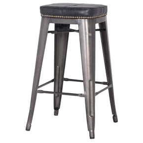 Metropolis Pu Leather Metal Backless Counter Stool Vintage Black (Set Of 4) Chair