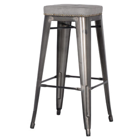 Metropolis Pu Leather Metal Backless Bar Stool Vintage Mist Gray (Set Of 4) Counter Chair