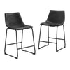 Industrial Vegan Leather Counter Stools - Black (Set of 2)