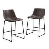 Industrial Vegan Leather Counter Stools - Brown (Set Of 2) Chair