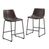 Counter Chairs - Walker Edison CHL26BR Industrial Vegan Leather Counter Stools - Brown (Set of 2) | 814055025174 | Only $178.99. Buy today at http://www.contemporaryfurniturewarehouse.com