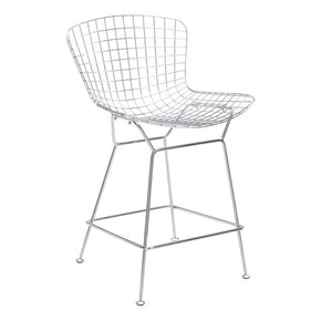 Wire Counter Chair Chrome Chromed Steel (Set Of 2)
