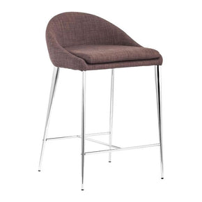 Reykjavik Counter Chair Tobacco Chromed Steel (Set Of 2)