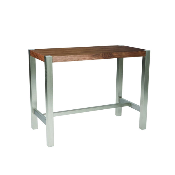 Riva Countertable Walnut Brushed Stainless Steel Counter Table