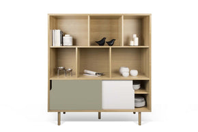 Dann Cupboard W/ Wood Legs Oak / Pure White & Matte Grey