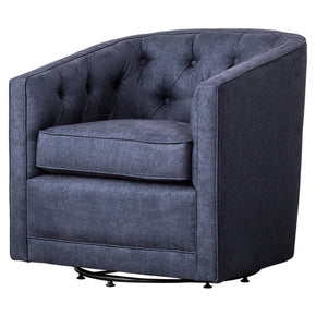 New Pacific Direct 1900101-157 Walsh Fabric Swivel Chair Denim Slate Blue