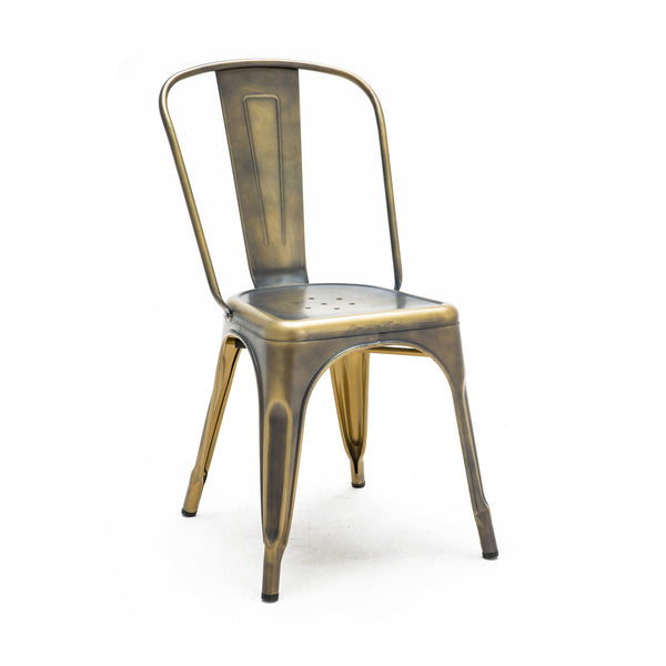 DesignLab MN LS-9000-2-VBRA Dreux Vintage Brass Steel Stackable Side Chair (Set of 2) 655222620569
