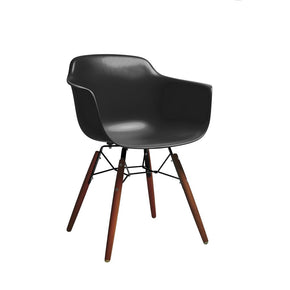 DesignLab MN LS-9341-BLKWAL Grazia Black Mid Century Arm Chair Walnut Base Original Design (Set of 4) 646263991404