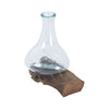 Jetsam Teak Root And Glass Vessel - Tall Woodtone,blue Jar/bottle