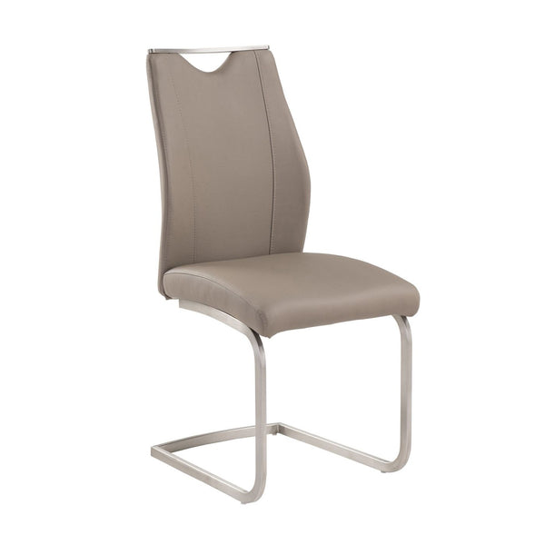 Bravo Contemporary Side Chair In Coffee And Stainless Steel - Set Of 2 Dining