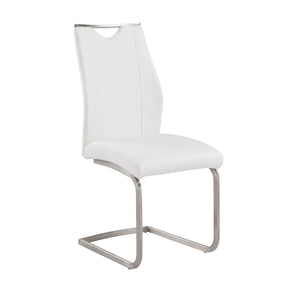 Dining Chairs - Armen Living LCBRSIWH Bravo Contemporary Side Chair In White and Stainless Steel - Set of 2 | 638170587559 | Only $279.00. Buy today at http://www.contemporaryfurniturewarehouse.com