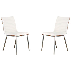 Cafe Brushed Stainless Steel Dining Chair In White Pu With Walnut Back (Set Of 2)