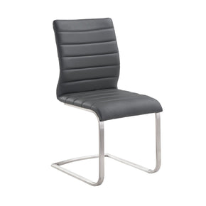 Fusion Contemporary Side Chair In Gray And Stainless Steel - Set Of 2 Dining