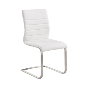 Dining Chairs - Armen Living LCFUSIWH Fusion Contemporary Side Chair In White and Stainless Steel - Set of 2 | 638170587634 | Only $338.00. Buy today at http://www.contemporaryfurniturewarehouse.com