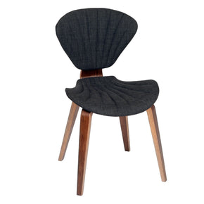 Lisa Modern Chair In Charcoal Fabric And Walnut Wood Dining