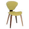 Lisa Modern Chair In Green Fabric and Walnut Wood