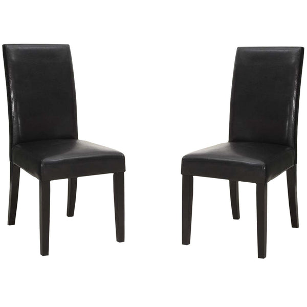 Black Bonded Leather Side Chair Md-014 (Set Of 2) Dining